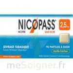 NICOPASS MENTHE FRAICHEUR 2,5 mg SANS SUCRE, pastille édulcorée à l'aspartam et à l'acésulfame potassique à Bergerac