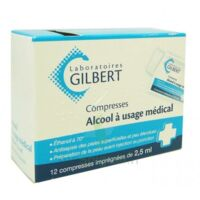 ALCOOL A USAGE MEDICAL GILBERT 2,5 ml Compr imprégnée 12Sach à Bergerac